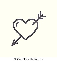 Heart with arrow line icon with editable stroke.