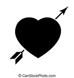 heart with arrow - love icon, vector illustration, black sign on isolated background