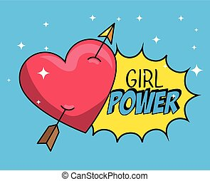 heart with arrow patch and girl power message
