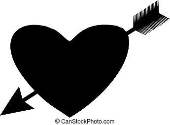 Heart with arrow vector illustration