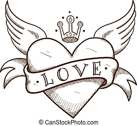 Heart with banner and crown. Sketch vector element for...
