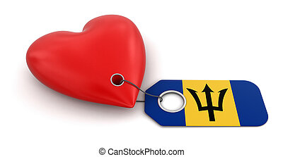 Heart with Barbados flag