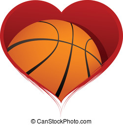 Heart with Basketball Inside - Vector illustration of a...