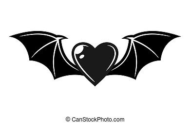 Heart with bat wings vector tattoo style object