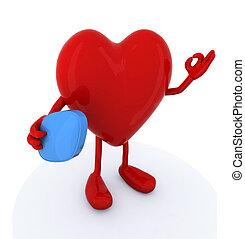 heart with big blue pill on hand - heart with arms and legs...