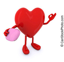 heart with big pink pill on hand - heart with arms and legs...