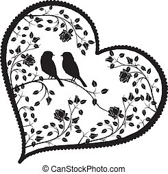 heart with birds and flowers