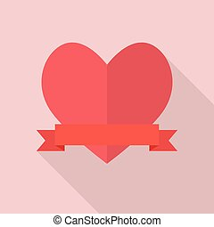 Heart with blank banner