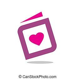 Heart With Book, Vector Icon or Logo Design