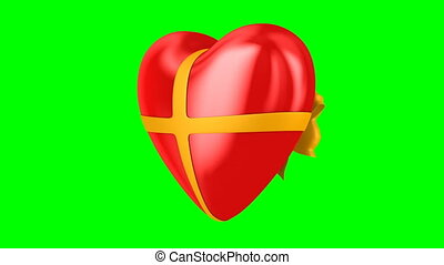 heart with bow on green background. Isolated 3D render