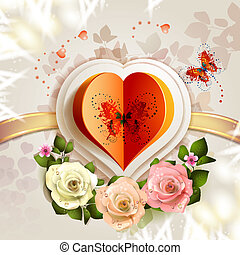 Heart with butterfly and roses