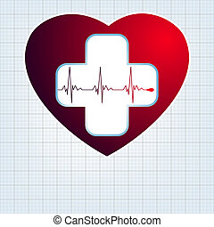 Heart with cardiogram. EPS 10