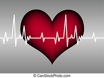 red plastic heart on a grey grid with white cardiogram line