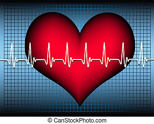 heart with cardiogram - red plastic heart on a blue grid...
