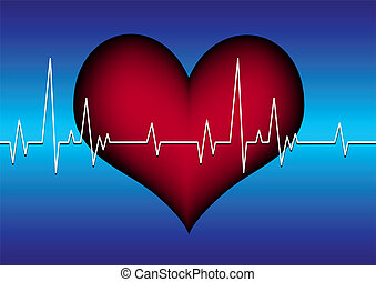 red plastic heart on a blue grid with white cardiogram line