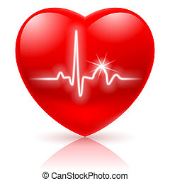 Shiny red heart with cardiogram isolated on white.