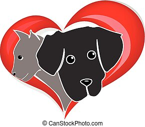 Heart with cat and dog logo