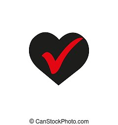 Heart with check icon in a flat design in black color. Vector illustration.