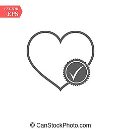 Heart with check mark glyph icon. Health care. Silhouette symbol. Cardiology. Negative space. Vector isolated illustration