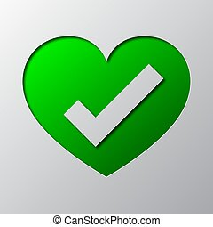 Heart with check mark is cut from the paper. Vector illustration.