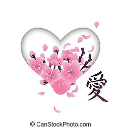 Heart with cherry blossom design