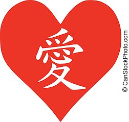 Heart with chinese love sign
