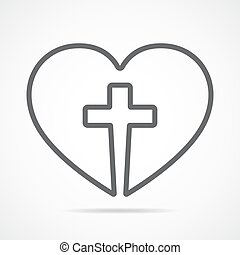 Heart with Christian cross inside illustration. - Christian...