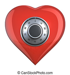 Heart with combination lock