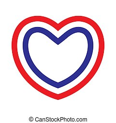 Heart with contours of French flag colors