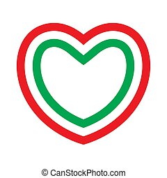 Heart with contours of Italian flag colors. Love to Italy. Vector illustration.