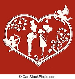 Heart with couple inside