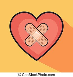 heart with cross band aid