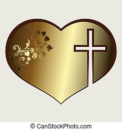 Heart with cross gold tone