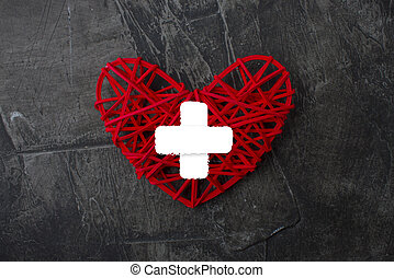 Heart with cross icon. Healthcare, Medical symbol. Doctor day sign, emblem on a dark background