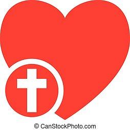 Heart with cross icon love Jesus church christianity symbol