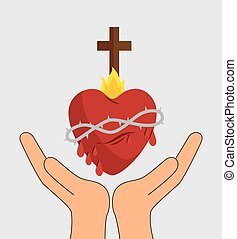 heart with cross religious symbol