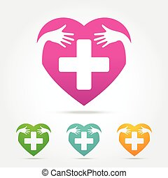Heart with cross sign icon