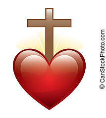 heart with cross - heart and cross icon over white...