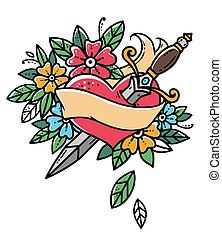 Heart with dagger, ribbon and flowers. Retro tattoo. Old school retro vector illustration