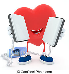 Heart with defibrillator - Smily heart keeping defibrillator...