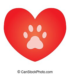 Heart with dog paw flat icon. Heart and paw print color icons in trendy flat style. Animal footprint in heart gradient style design, designed for web and app. Eps 10.