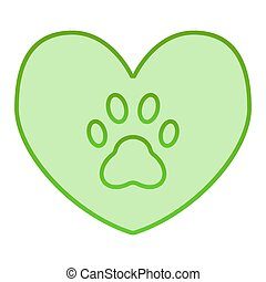 Heart with dog paw flat icon. Heart and paw print green icons in trendy flat style. Animal footprint in heart gradient style design, designed for web and app. Eps 10.