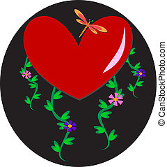 Heart with Dragonfly and Plants