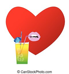 heart with drink illustration in red