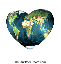 heart with earth texture