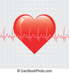 Heart with ekg on texture