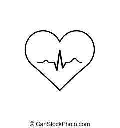 Heart with EKG signal.vector.
