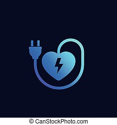 heart with electric plug vector