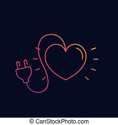 heart with electric plug vector line icon
