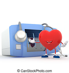 Heart with electrocardiogram device